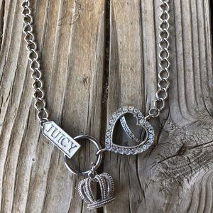 Juicy Couture Crystal Heart & Crown Necklace!
